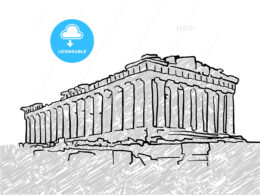 Athens, Greece famous temple sketch