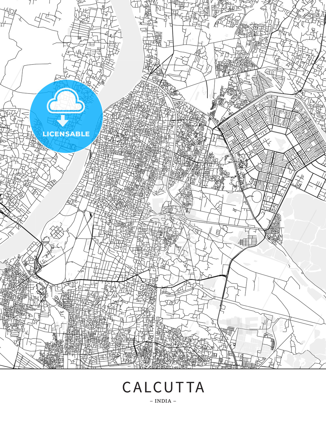 Calcutta, India, Map poster borderless print template | HEBSTREITS on