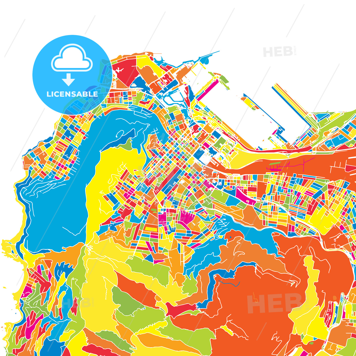 Cape Town, South Africa, colorful vector map | HEBSTREITS Sketches