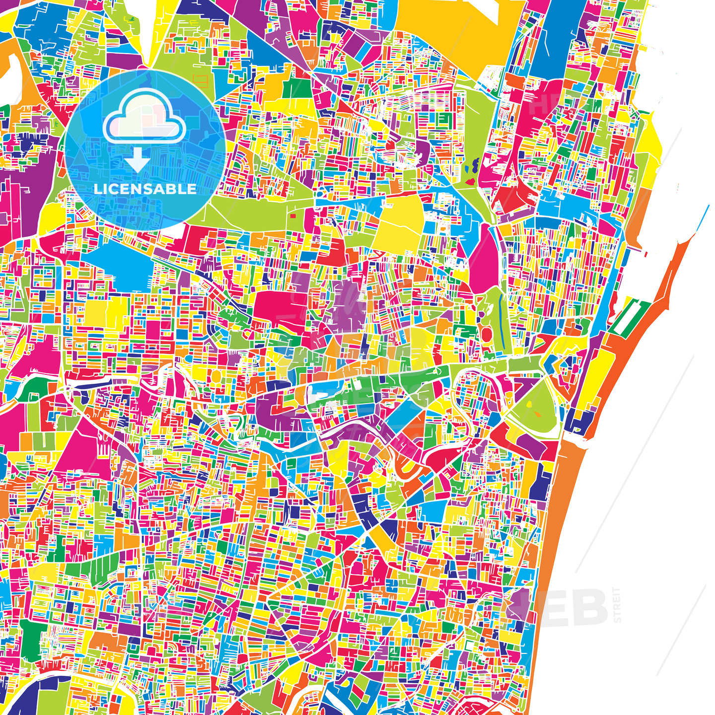 Chennai, India, colorful vector map | HEBSTREITS Sketches on