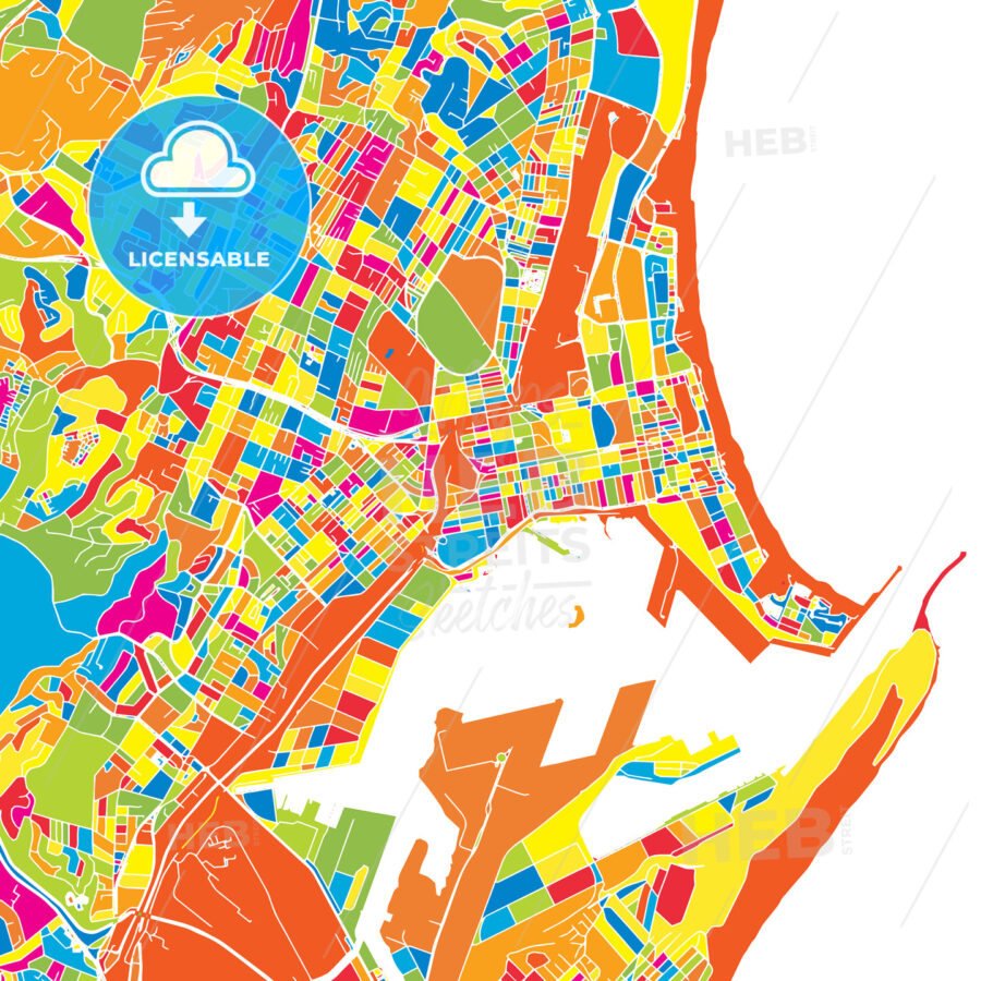 Durban South Africa Colorful Vector Map Hebstreits Sketches