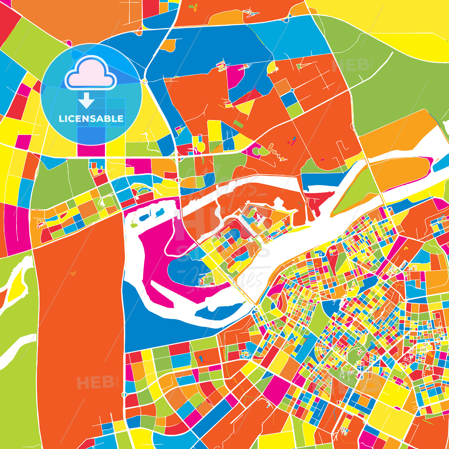 Harbin China colorful vector map HEBSTREITS