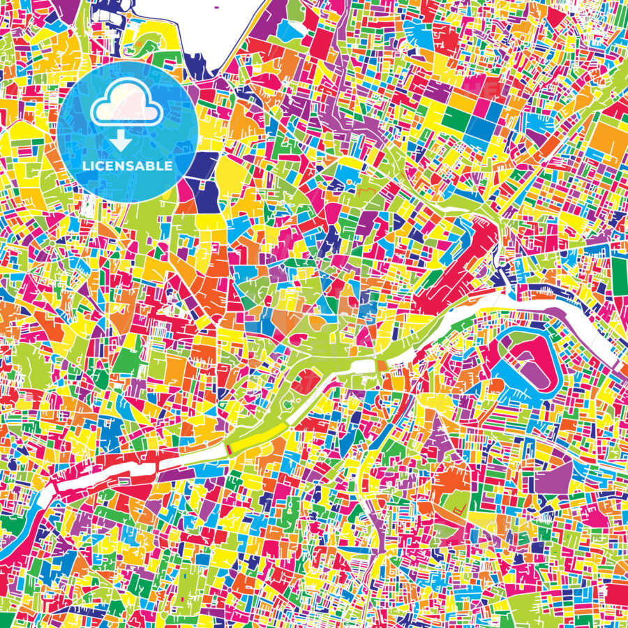 Hyderabad India Colorful Vector Map Hebstreits