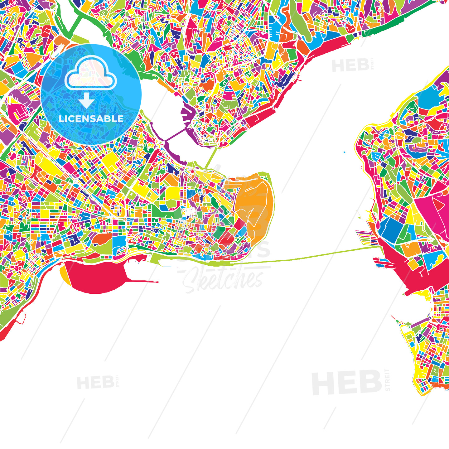 Istanbul, Turkey, colorful vector map | HEBSTREITS
