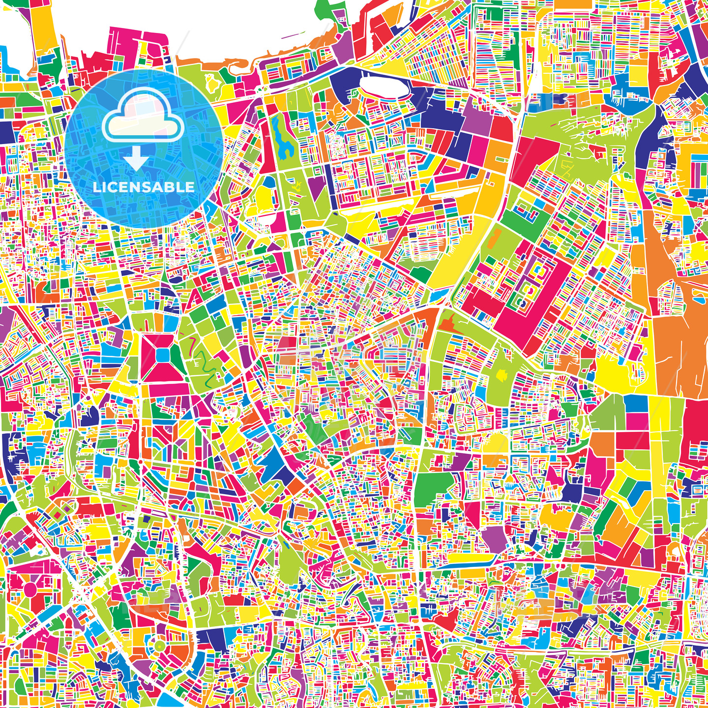Jakarta, Indonesia, colorful vector map