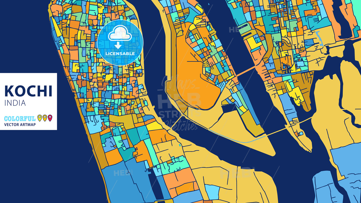 Kochi India Colorful Vector Artmap Hebstreits