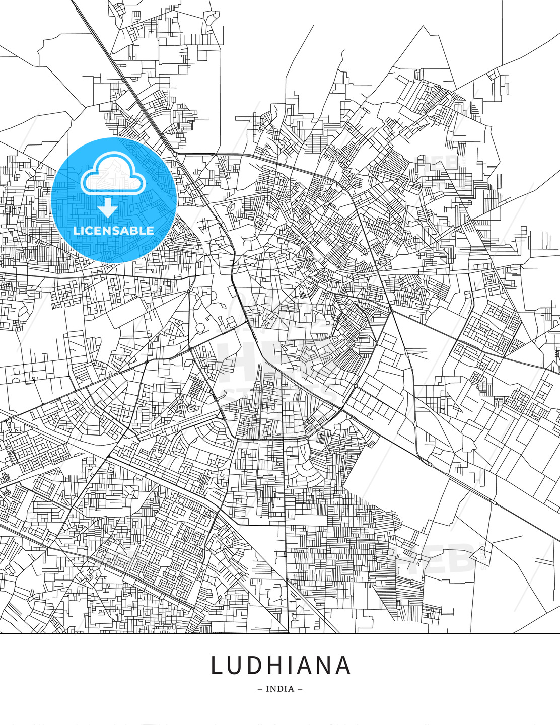 Ludhiana, India, Map poster borderless print template | HEBSTREITS ...