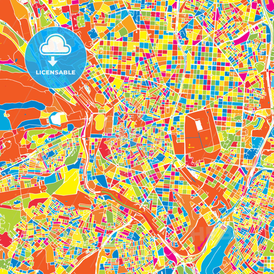 Madrid, Spain, colorful vector map | HEBSTREITS