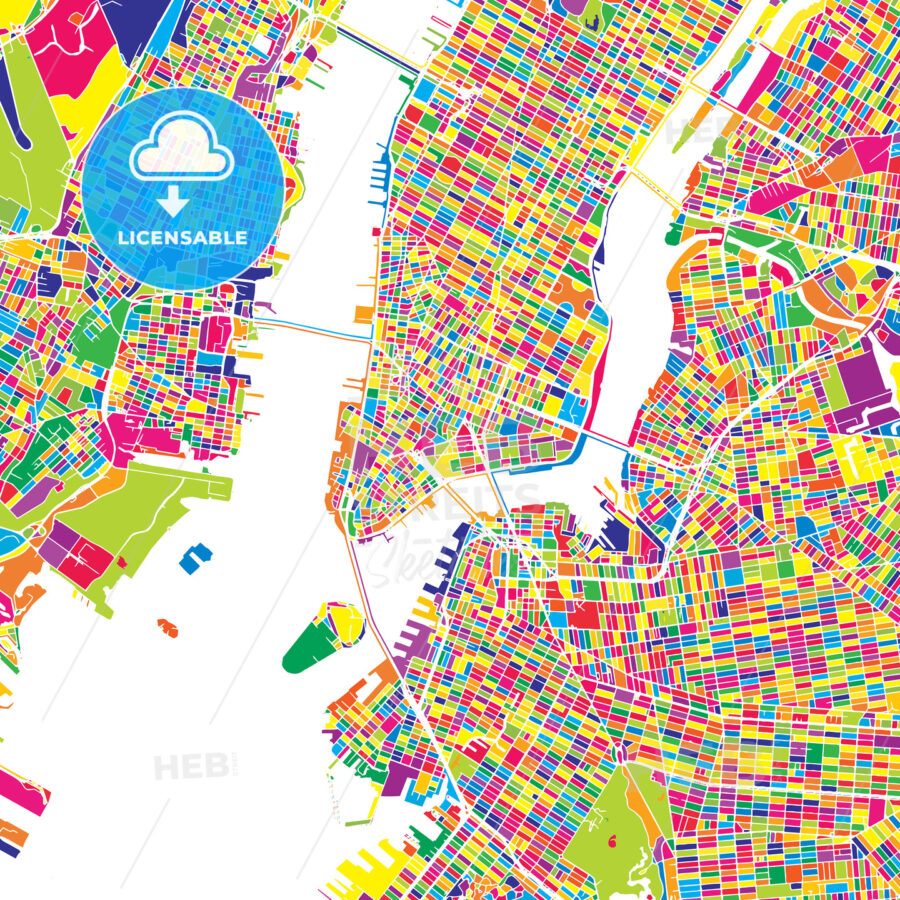 New York City United States Colorful Vector Map Hebstreits Sketches