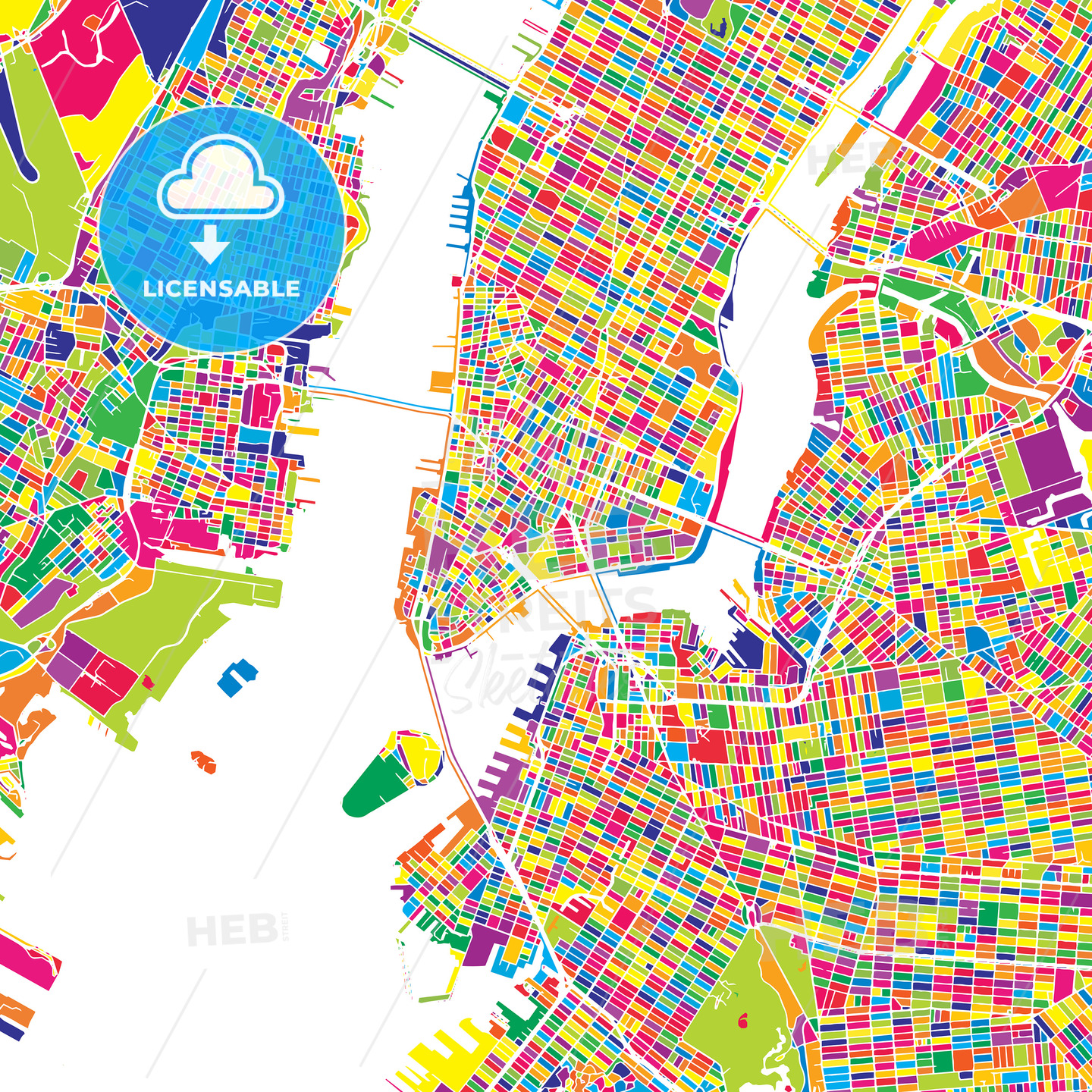 New York City On A Map Of The Us.New York City United States Colorful Vector Map
