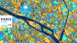 Paris, France, Colorful Vector Artmap