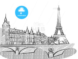 Paris, France famous Travel Sketch