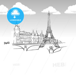 Paris, France famous landmark sketch
