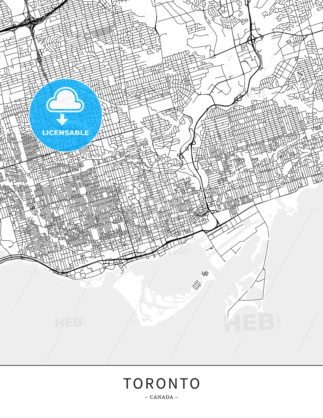 Toronto, Canada, Map poster borderless print template - HEBSTREITS