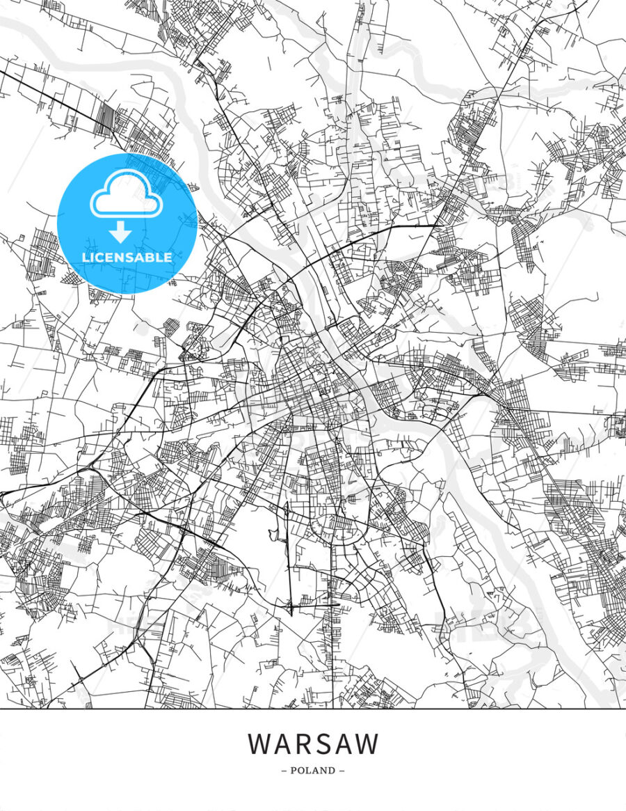 Warsaw, Poland, Map poster borderless print template | HEBSTREITS ...