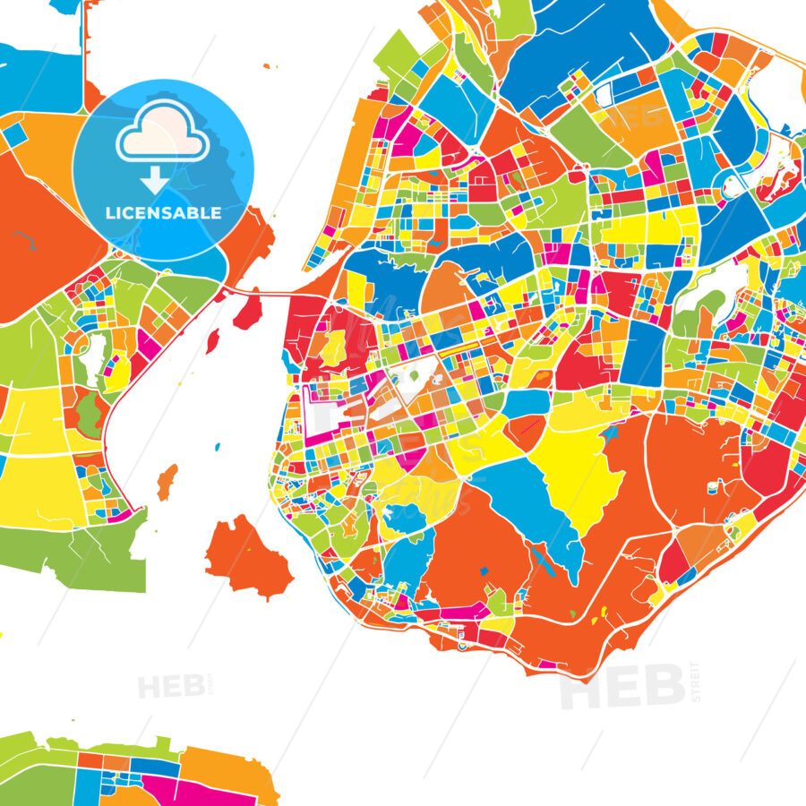 Xiamen China Colorful Vector Map Hebstreits