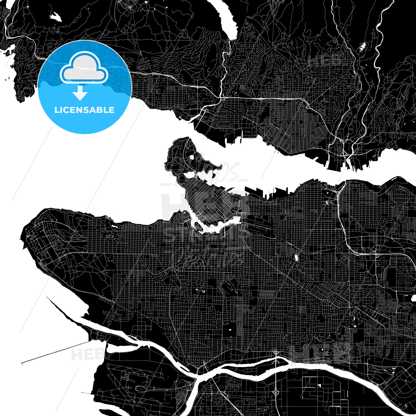 Vancouver Canada Map Pdf Vancouver Canada Download PDF Map | HEBSTREITS Maps and Sketches