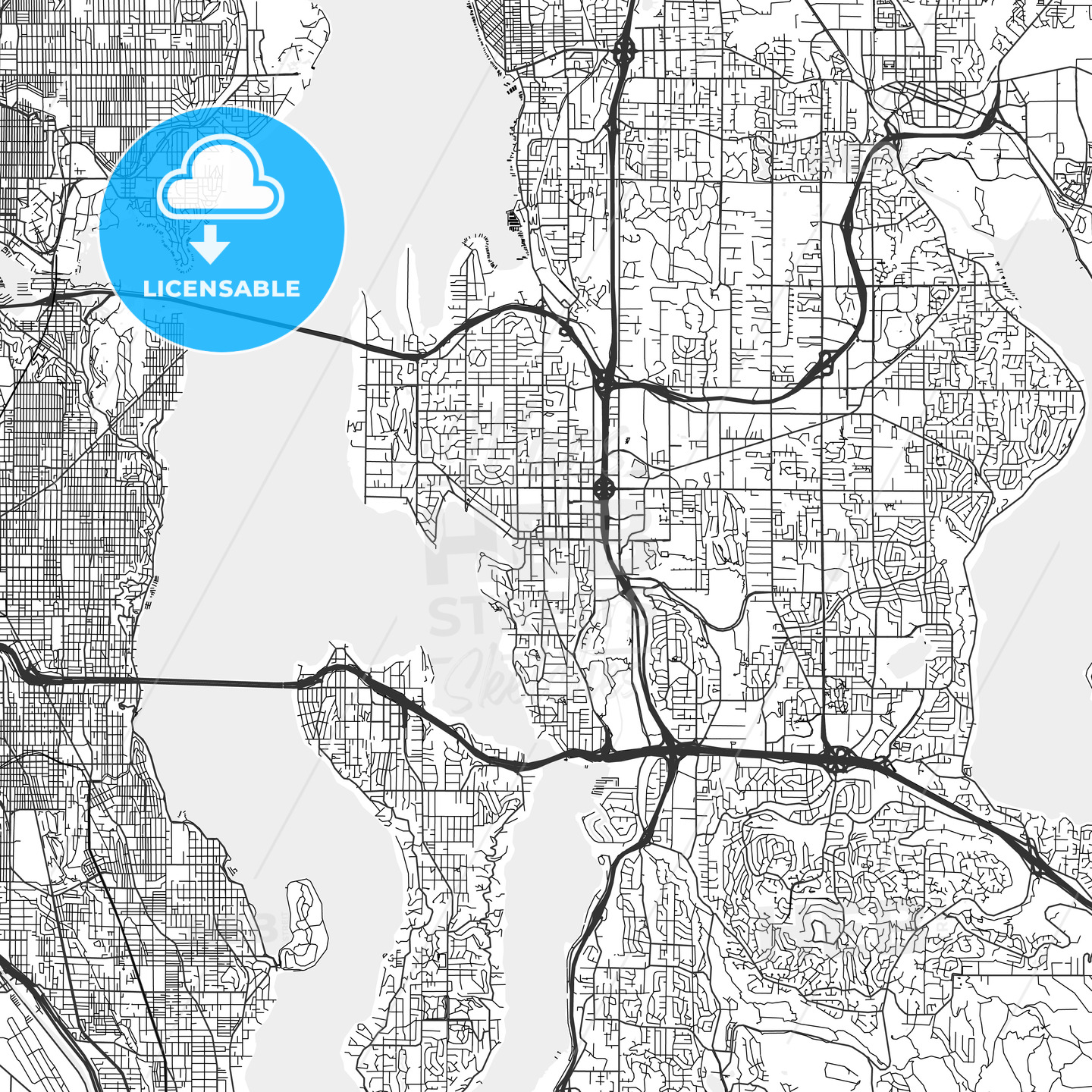 Bellevue, Washington   Area Map   Light | HEBSTREITS