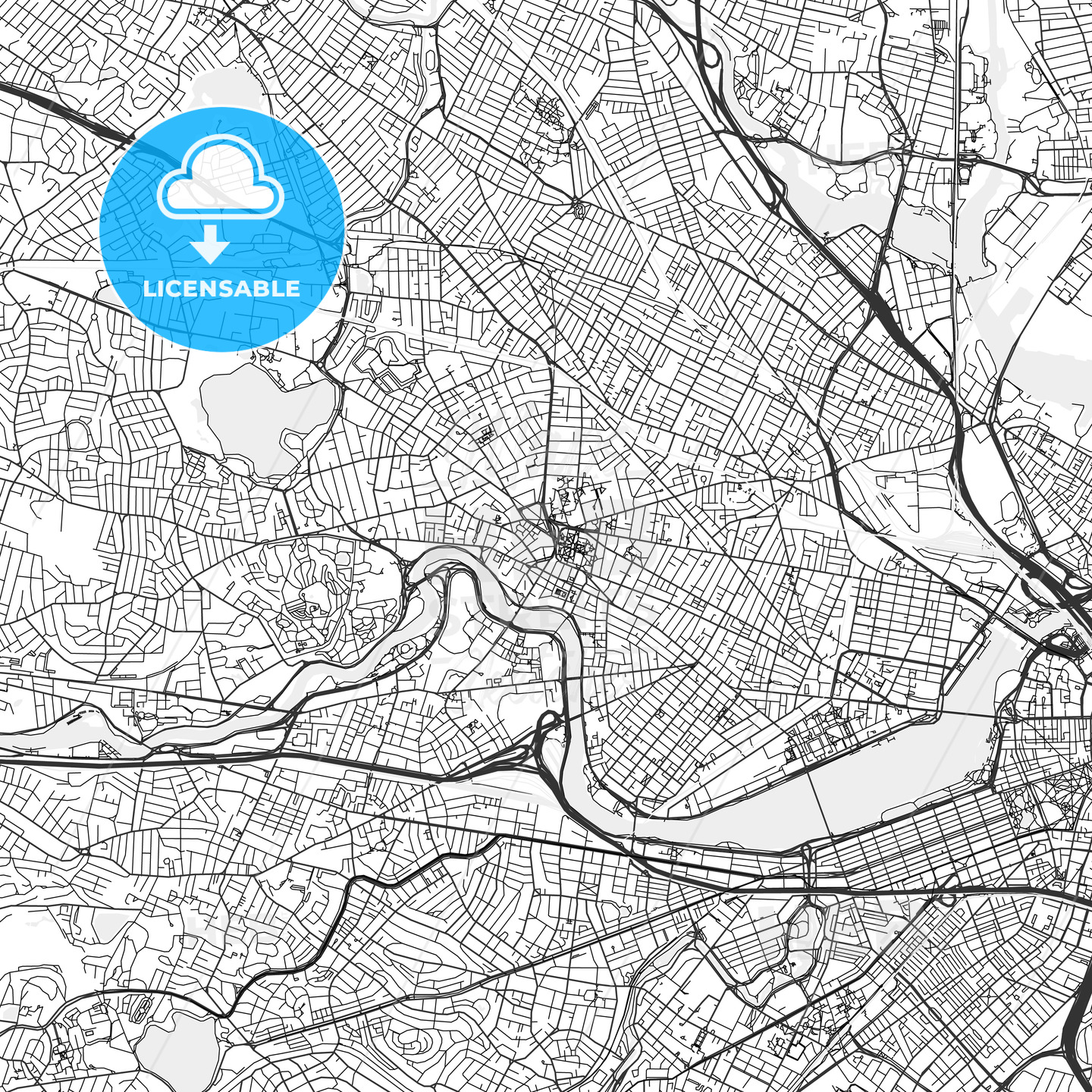 Cambridge, Machusetts - Area Map - Light | HEBSTREITS Sketches on