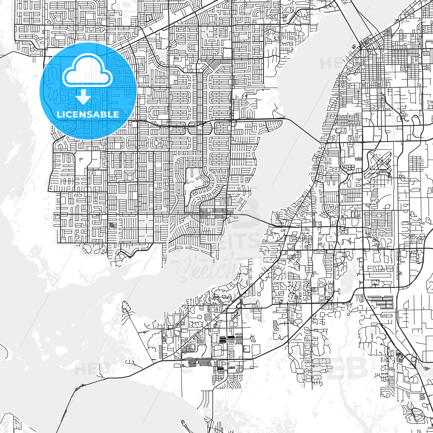 Cape Coral, Florida - Area Map - Light | HEBSTREITS Sketches on