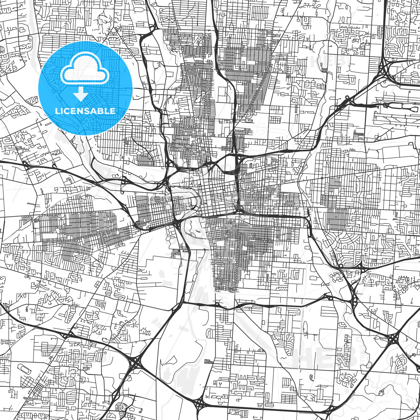 It is a picture of Geeky Printable Map of Columbus Ohio