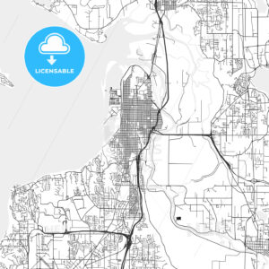 Everett, Washington – Area Map – Light - HEBSTREITS