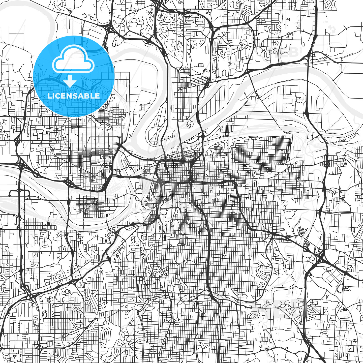Kansas City, Missouri - Area Map - Light