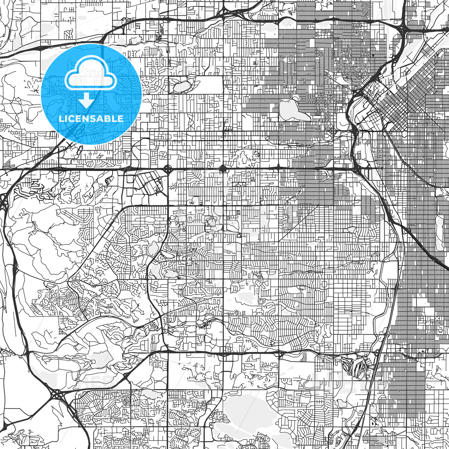 Lakewood, Colorado - Area Map - Light | HEBSTREITS Sketches