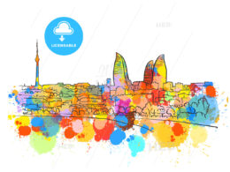 Baku Azerbaijan Colorful Landmark Banner