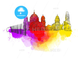 Berlin Germany Colorful Landmark Banner