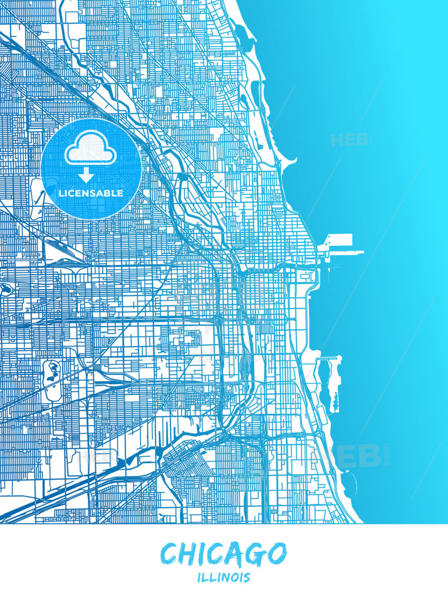 Chicago, Illinois - Map Poster Design | HEBSTREITS Sketches