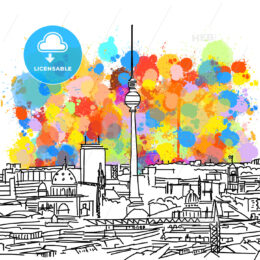Colorful Berlin Skyline Sketch