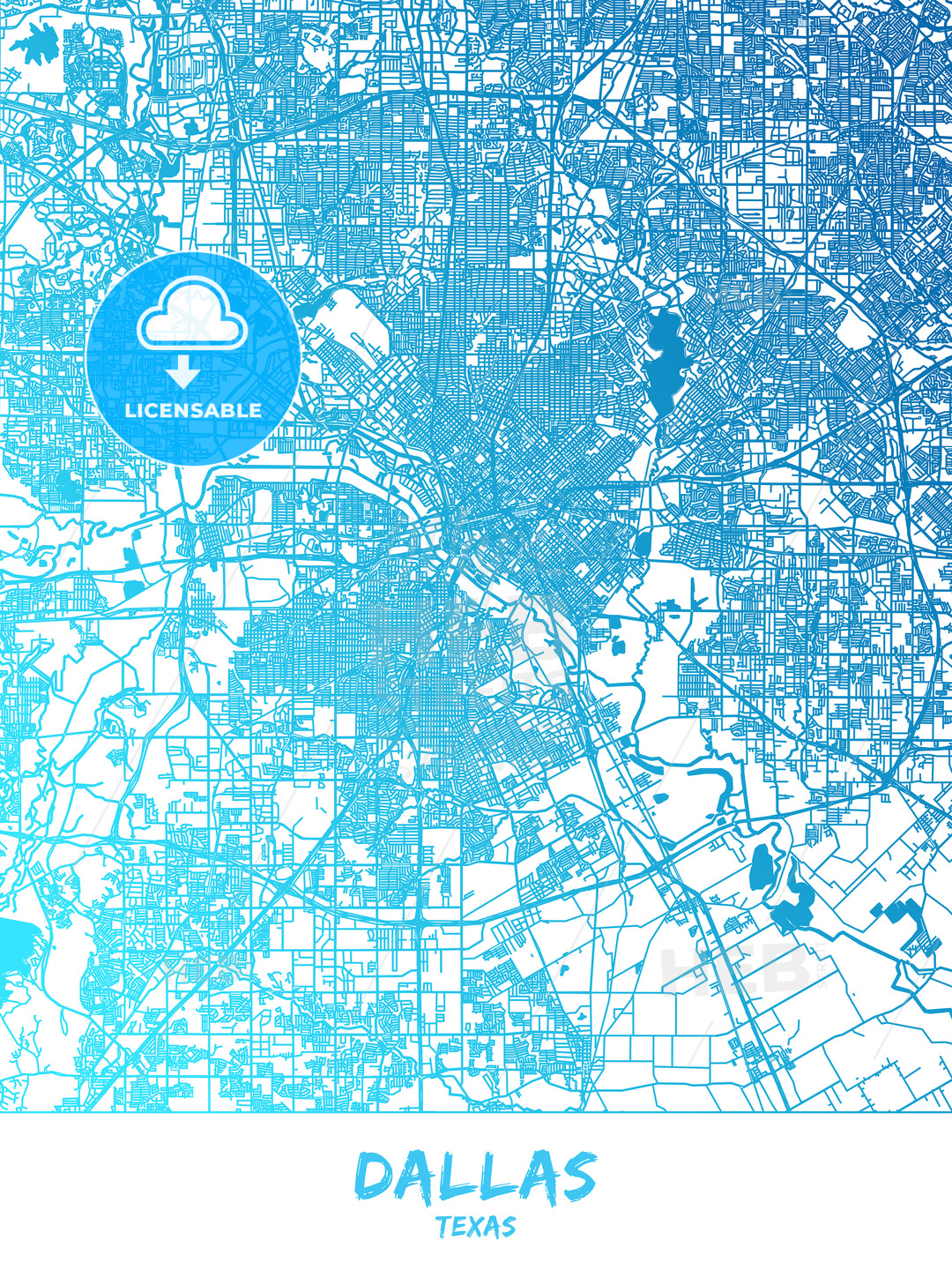 Dallas, Texas - Map Poster Design   HEBSTREITS Sketches on