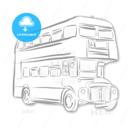 London Bus Black and White Sketch