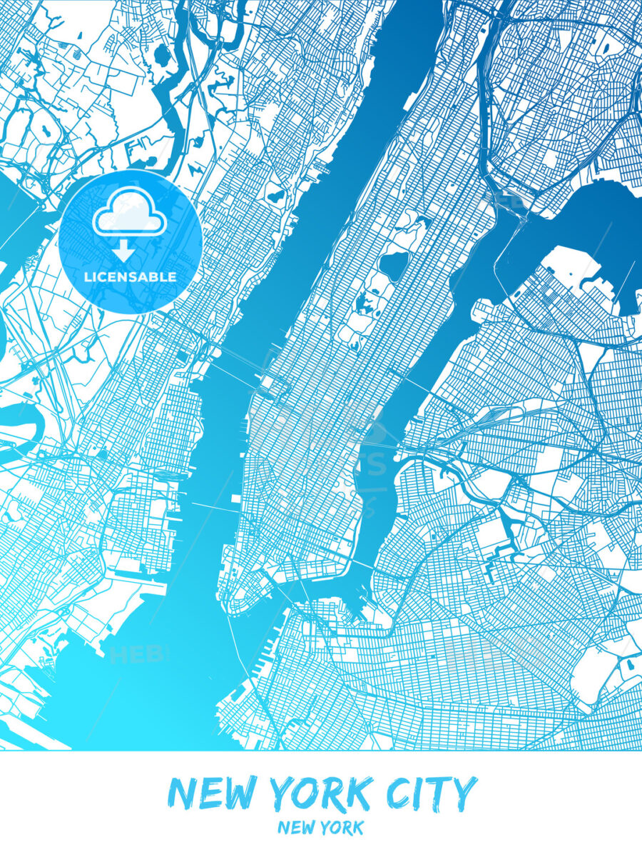 New York City New York Map Poster Design Hebstreits