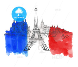 Paris France Colorful Landmark Banner