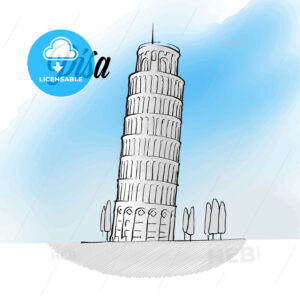 Pisa Tower Landmark Sketch - HEBSTREITS