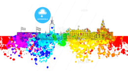 Stockholm Colorful Landmark Banner