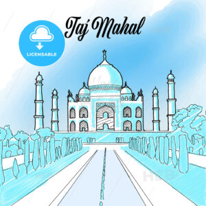 Taj Mahal Landmark Sketch - HEBSTREITS