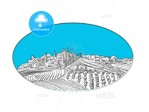 Vineyard landscape label design - HEBSTREITS