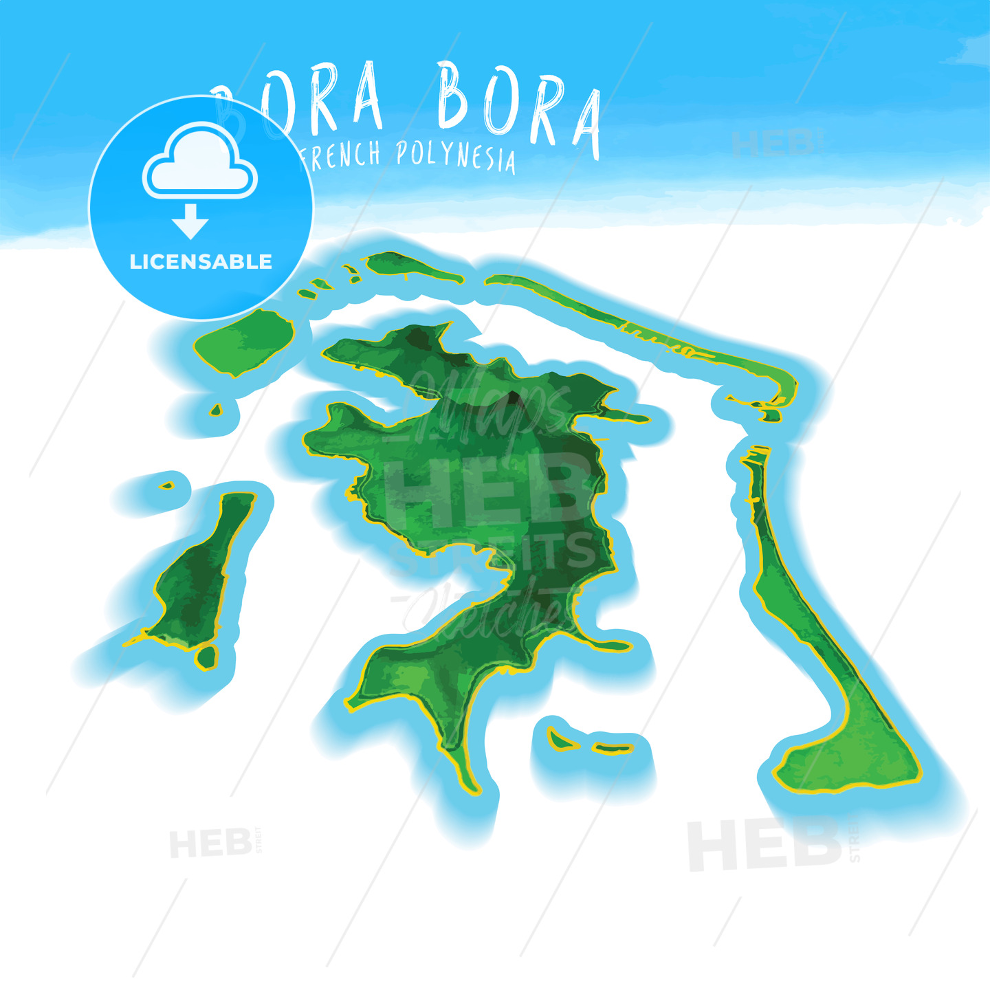 3D Island Map of Bora Bora | HEBSTREITS