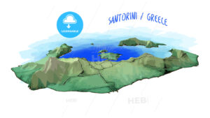 3D Island Map of Santorini - HEBSTREITS