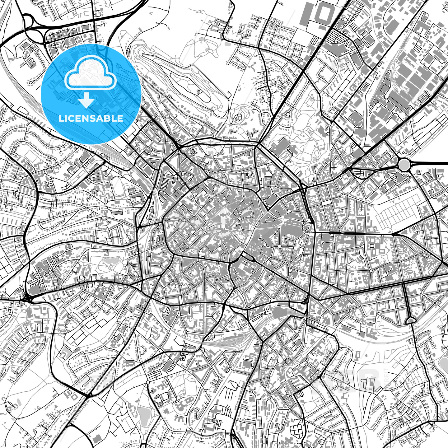Aachen, Germany, vector map with buildings - HEBSTREITS