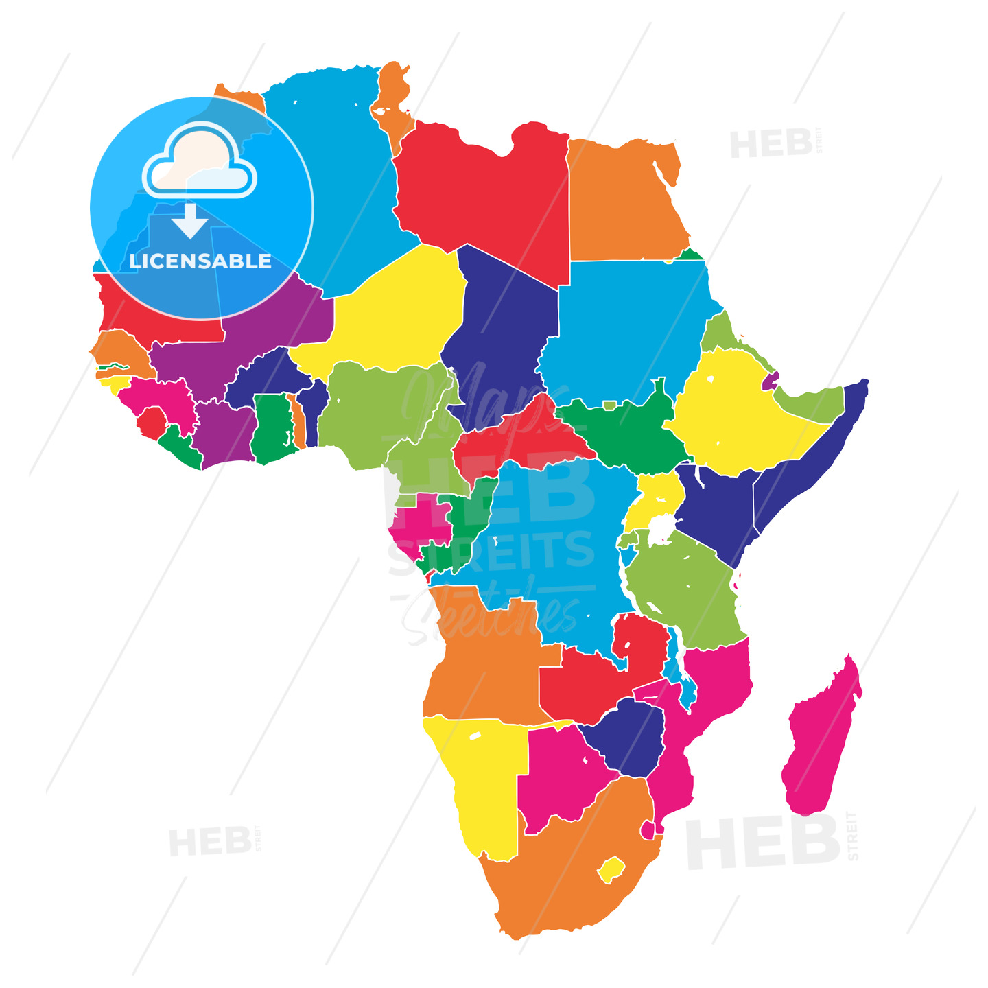 Africa colorful vector map - HEBSTREITS