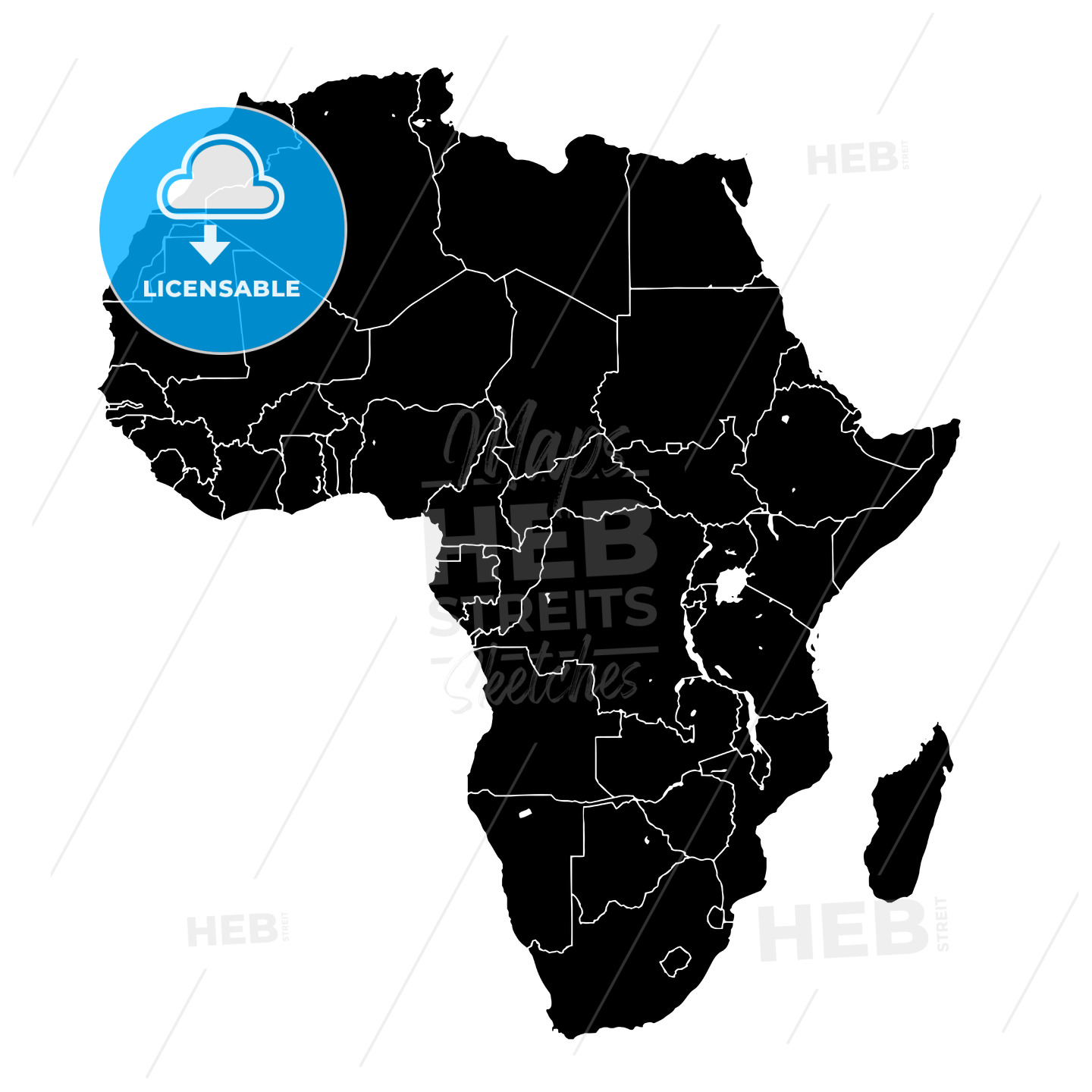 Africa silhouette vector map - HEBSTREITS