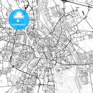 Augsburg, Germany, Vector Map – Light - HEBSTREITS