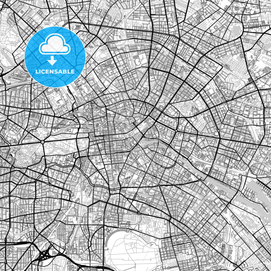 Berlin downtown vector map with buildings - HEBSTREITS