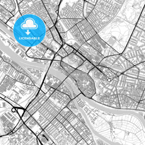 Bremen, Germany, vector map with buildings - HEBSTREITS