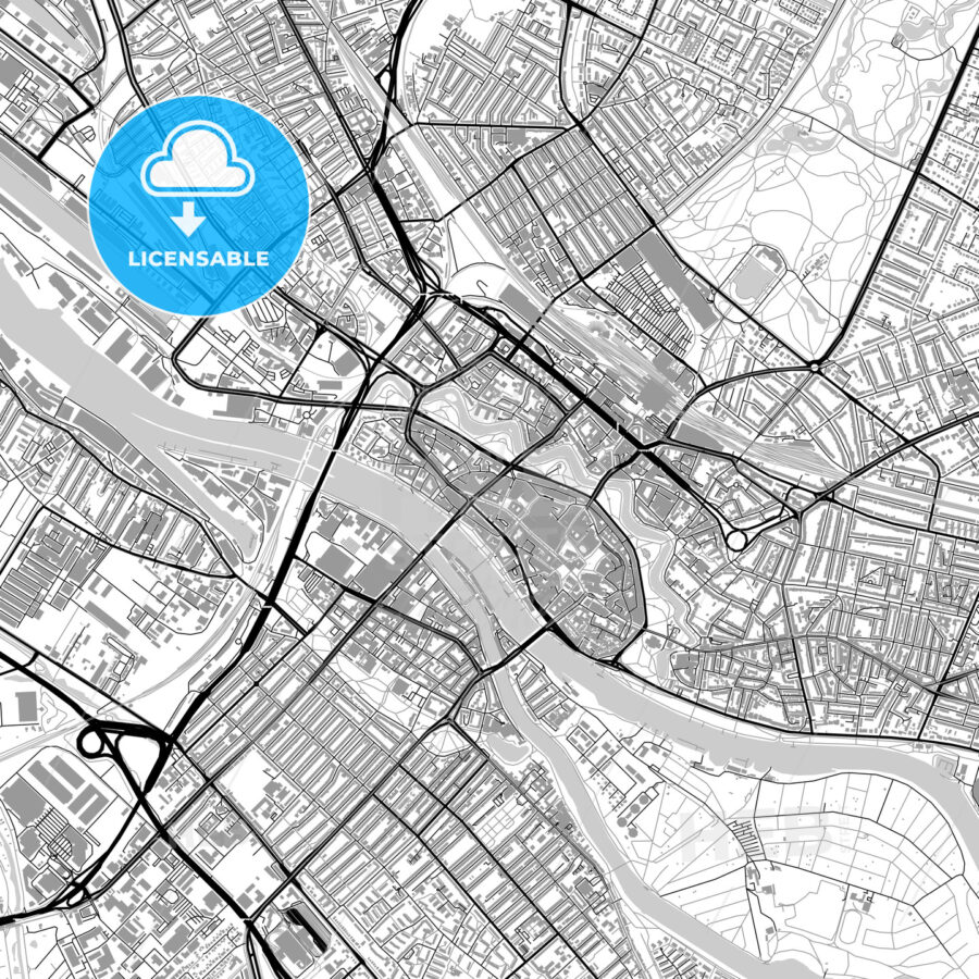 Bremen Germany Vector Map With Buildings Hebstreits