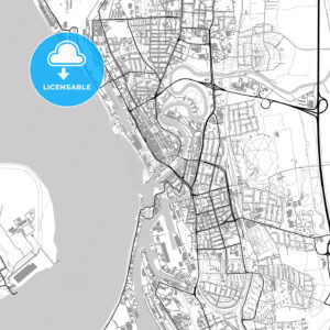 Bremerhaven, Germany, vector map with buildings - HEBSTREITS